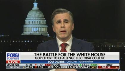 still of Tom Fitton; chyron: The Battle for the White House, GOP effort to challenge electoral college