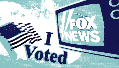 "The Fox News logo alongside an ""I Voted"" sticker"