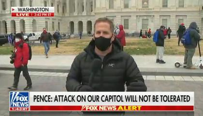 "chyron reads, ""PENCE: ATTACK ON OUR CAPITOL WILL NOT BE TOLERATED"""
