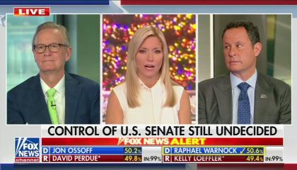 "Fox & Friends co-hosts Steve Doocy, Ainsley Earhardt (speaking), and Brian Kilmeade in split screens above a chyron reading ""Control of US Senate still undecided"""