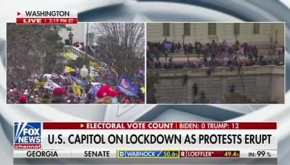 "Fox News showing Trump supporters storming the US Capitol and scaling its walls, above a chyron reading ""US Capitol on lockdown as protests erupt"""