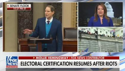 "chyron reads, ""ELECTORAL CERTIFICATION RESUMES AFTER RIOTS"""