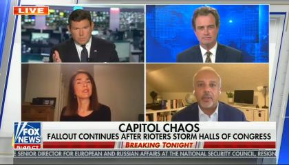 still of Bret Baier, Mo Elleithee, Susan Ferrechio, Charles Hurt; chyron: Capitol Chaos, Fallout continues after rioters storm halls of congress