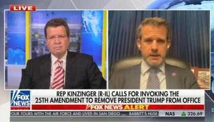 "Neil Cavuto on left, Adam Kinzinger on right, chyron reads ""Rep Kinzinger (R-IL) calls for invoking the 25th Amendment to remove President Trump from office"""