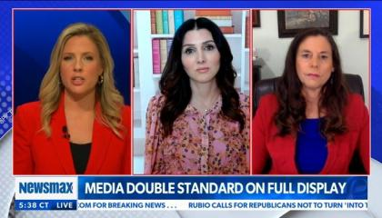 chyron reads: Media double standard on full display