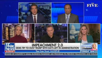 "chyron reads, ""IMPEACHMENT 2.0: DEMS TRY TO OUST TRUMP WITH DAYS LEFT IN ADMINISTRATION"""