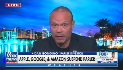 "Fox contributor and Parler investor Dan Bongino above a chyron reading ""Apple, Google & Amazon Suspend Parler"""