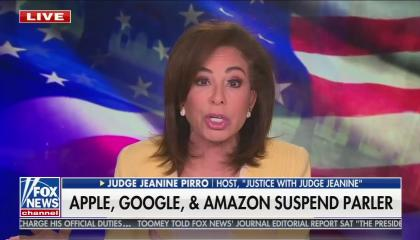 "Fox host Jeanine Pirro against her usual American flag background, above a chyron reading ""Apple, Google & Amazon suspend Parler"""