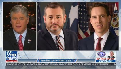 Sean hannity next to pictures of Ted Cruz and Josh Hawley