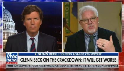 Tucker Carlson on left in front of Capitol backdrop, Glenn Beck on right