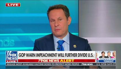 "Fox host Brian Kilmeade above a chyron reading ""GOP warn impeachment will further divide U.S."""