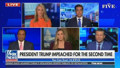 chyron reads: President Trump impeached for the second time