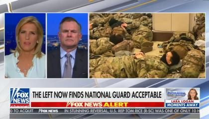 """chyron reads, """"THE LEFT NOW FINDS NATIONAL GUARD ACCEPTABLE"""""""