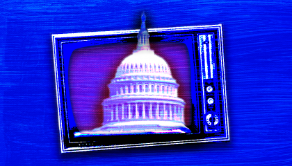 A photo of the U.S. Capitol and a TV