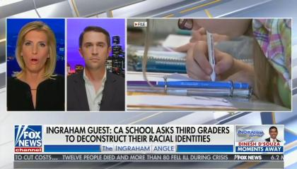 still of Laura Ingraham, Chris Rufo; footage of child at school; chyron: Ingraham guest: CA school asks third graders to deconstruct their racial identities