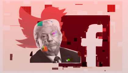 Trump on a red background with the Twitter and Facebook logos