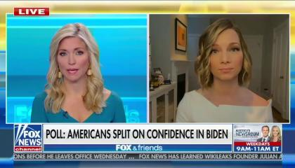 "Fox host Ainsley Earhardt and pollster Kristen Soltis Anderson above a chyron reading ""Poll: Most Americans split on confidence in Biden"""