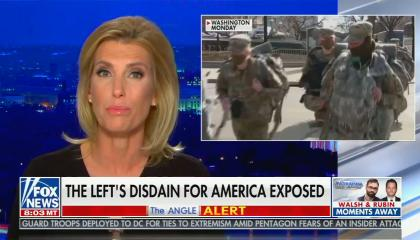 "chyron reads, ""THE LEFT'S DISDAIN FOR AMERICA EXPOSED"""