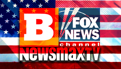 Breitbart, Fox News, Newsmax over American flag