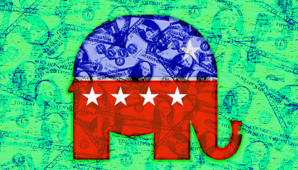 A Republican logo with dollar bills overlaid on it