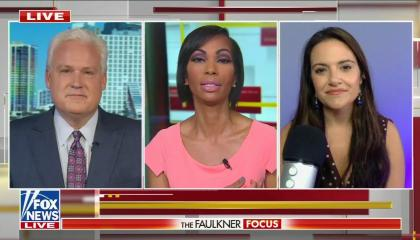 Conservative commentator Matt Schlapp and progressive author Nomiki Konst on either side of Fox anchor Harris Faulkner