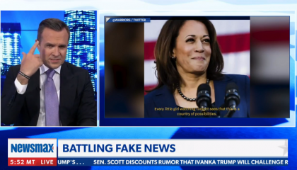 "Newsmax host criticizes Kamala Harris for ""all of this girl power stuff"""