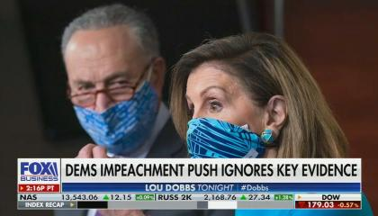 "Picture of Nancy Pelosi and Chuck Schumer wearing masks; chyron reads ""Dem impeachment ignores key evidence"""