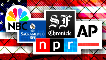 NPR, AP, SF Chronicle, Sac Bee logos in front of an American flag with a chain-linked fence