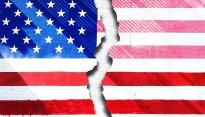 An American flag broken in two