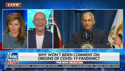 still of Maria Bartiromo, Steve Hilton; chyron: why won't Biden comment on origins of covid-19 pandemic?