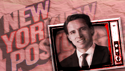 Josh Hawley and a New York Post logo