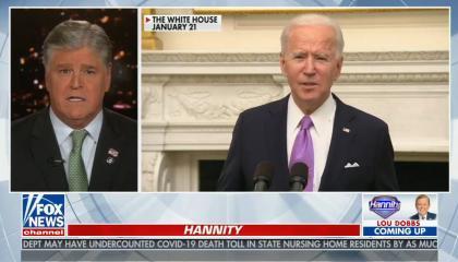 Sean from shoulders up, with split screen video of Joe Biden speaking
