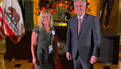 Rep. Marjorie Taylor Greene with House Minority Leader Kevin McCarthy