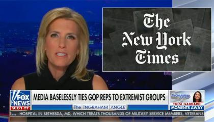 """Laura Ingrham in black dress addressing camera, chyron reads """"Media baselessly ties GOP Reps to extremist groups"""""""