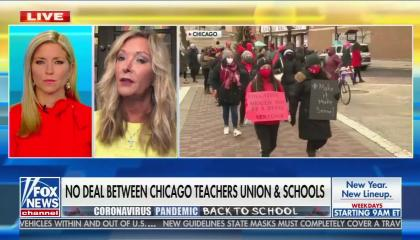 "Fox host Ainsley Earhardt and Chicago AM talk radio host Amy Jacobson next to b-roll of a Chicago Teachers Union protest. Chyron reads ""No Deal Between Chicago Teachers Union & Schools"""