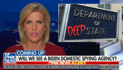 "chyron reads, ""WILL WE SEE A BIDEN DOMESTIC SPYING AGENCY?"""