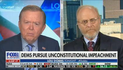 """Deoms in blue checkered suit on left screen, David Schoen in on right screen; chyron reads """"Dems pursue unconstitutional impeachment"""""""