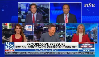 chyron reads: Progressive pressure Dems push Biden to cancel $50K in student loan debt