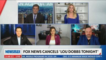 "Newsmax guest says Fox News cancelled Lou Dobbs for being ""too conservative"""