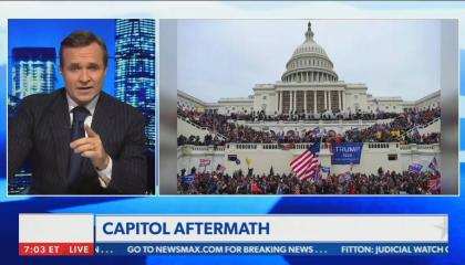 still of Greg Kelly; image of Capitol attack; chyron: Capitol Aftermath