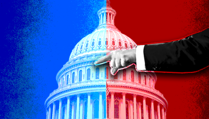 The U.S. Capitol divided with blue and red
