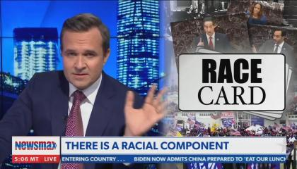 still of Greg Kelly; chyron: There is a racial component; images of House managers superimposed with graphic that reads: Race Card