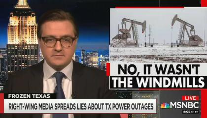 "chyron reads, ""RIGHT-WING MEDIA SPREADS LIES ABOUT TX POWER OUTAGES"""