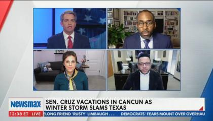 Newsmax guest defends Sen Ted Cruz, saying he is able to help Texans more remotely