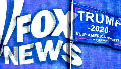 Fox News' logo and a Trump 2020 flag