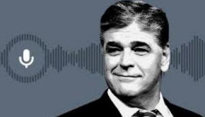 black and white image of Sean Hannity; clip art microphone; sound wave graphic
