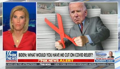 "chyron reads, ""BIDEN: WHAT WOULD YOU HAVE ME CUT ON COVID RELIEF?"""