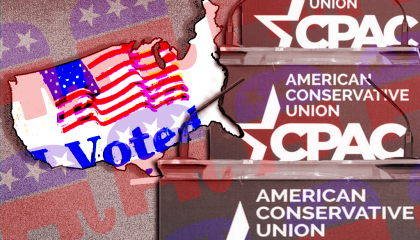 "The CPAC logo, the Republican Party logo, and an ""I voted"" sticker"