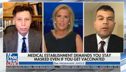 "chyron reads, ""MEDICAL ESTABLISHMENT DEMANDS YOU STAY MASKED EVEN IF YOU GET VACCINATED"""