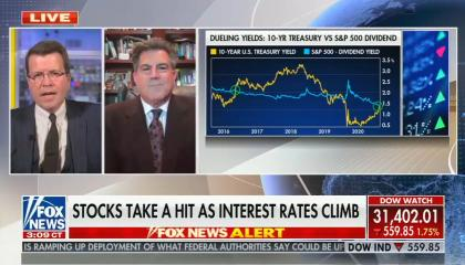 "Neil Cavuto on screen talking with guest Gary, chyron reads: ""stocks take a hit as interest rates climb""; graph on screen suggects that interest rates are climbing"